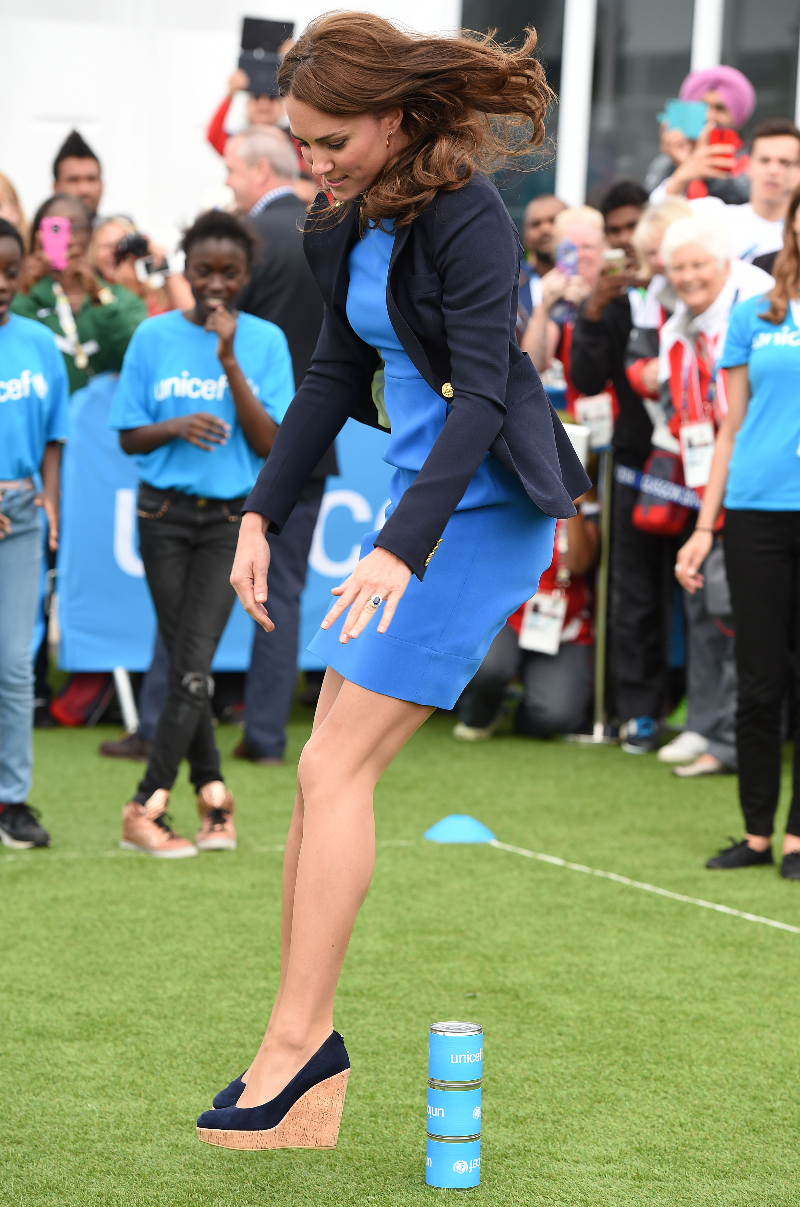 The Duchess of Cambridge takes part in a number of games with children from UNICEF during a visit to the Athletes Village at the Commonwealth Games in Glasgow today.
