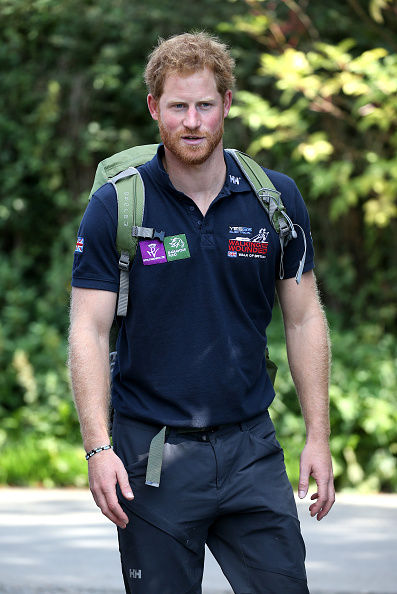 as Prince Harry joins Walking with the Wounded's Walk of Britain at Ludlow Castle on September 30, 2015 in Ludlow, England.