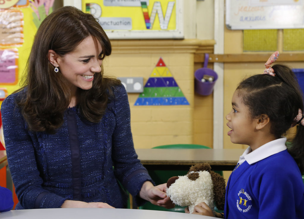The Duchess of Cambridge films a video message for Children's Mental Health week at Salusbury Primary School, Queen's Park, London, UK, on the 8th February 2016. Picture by Place2Be/Jamie Simonds/WPA-Pool Pictured: Duchess of Cambridge, Catherine, Kate Middleton Ref: SPL1222685  080216   Picture by: Splash News Splash News and Pictures Los Angeles:310-821-2666 New York:	212-619-2666 London:	870-934-2666 photodesk@splashnews.com