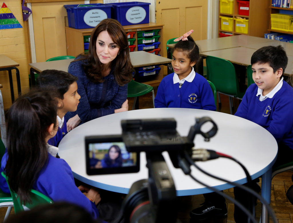 The Duchess of Cambridge films a video message for Children's Mental Health week at Salusbury Primary School, Queen's Park, London, UK, on the 8th February 2016. Picture by Place2Be/Jamie Simonds/WPA-Pool Pictured: Duchess of Cambridge, Catherine, Kate Middleton Ref: SPL1222685 080216 Picture by: Splash News Splash News and Pictures Los Angeles: 310-821-2666 New York: 212-619-2666 London: 870-934-2666 photodesk@splashnews.com