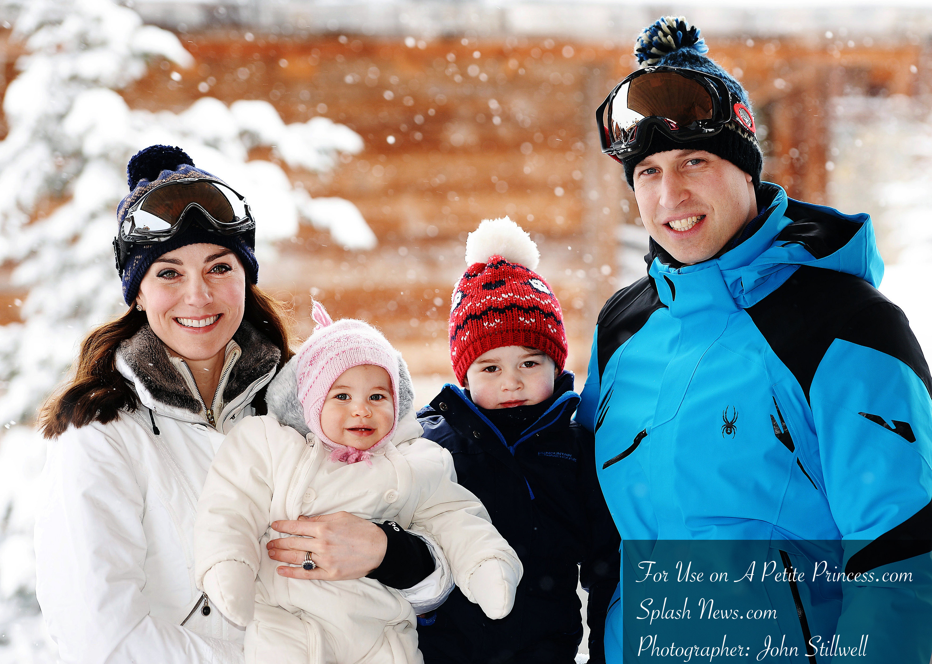 The Duke and Duchess of Cambridge, Prince George and Princess Charlotte enjoy a skiing holiday in the French Alps in France on the 7th March 2016. EDITORIAL USE ONLY Picture by John Stillwell/WPA-Pool Pictured: Duchess of Cambridge, Catherine, Kate Middleton, Princess Charlotte, Prince George, Prince William, Duke of Cambridge Ref: SPL1240472  070316   Picture by: Splash News Splash News and Pictures Los Angeles:310-821-2666 New York:212-619-2666 London:870-934-2666 photodesk@splashnews.com