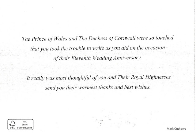 Message of Thanks from the Prince of Wales and Duchess of Cornwall