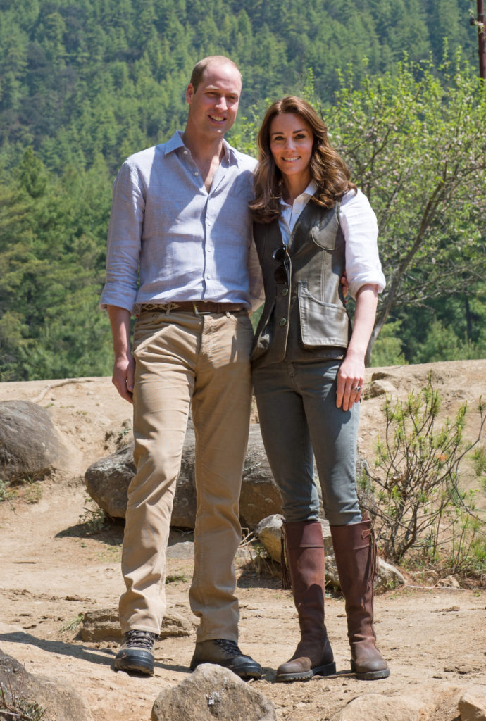 Prince William, Duke of Cambridge and Catherine, Duchess of Cambridge begin the trek to Tiger's Nest Monastery in Bhutan Pictured: Prince William, Duke of Cambridge and Catherine, Duchess of Cambridge Ref: SPL1264663 140416 Picture by: Splash News Splash News and Pictures Los Angeles: 310-821-2666 New York: 212-619-2666 London: 870-934-2666 photodesk@splashnews.com