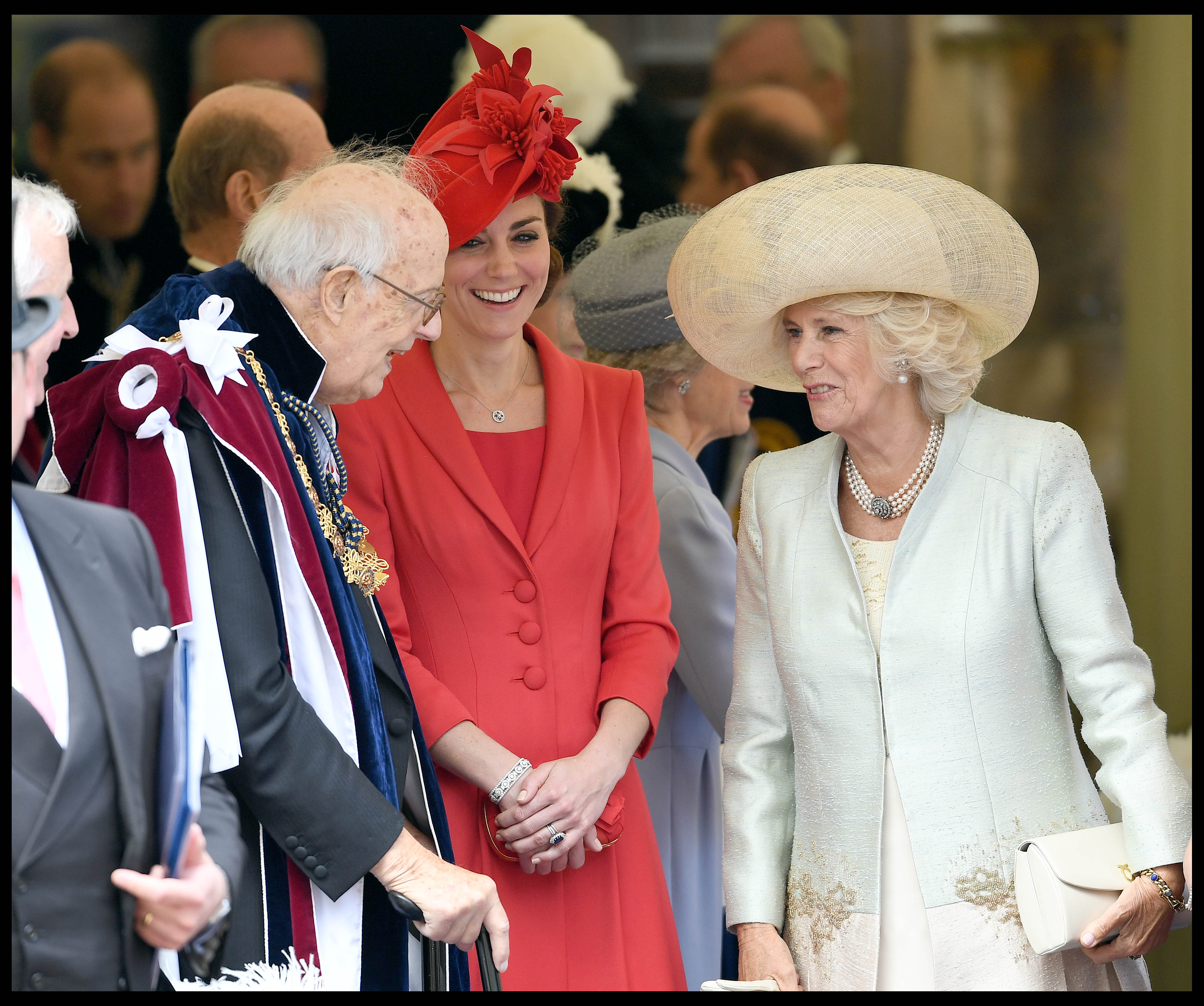 Image ©Licensed to i-Images Picture Agency. 13/06/2016. London, United Kingdom. Order of the Garter service. Duchess of Cambridge  and the Duchess of Cornwall talk to Lord Ashburton as they join HM The Queen Elizabeth II and the Duke of Edinburgh joined by other members of the Royal Family attend Order of the Garter service at Windsor Castle. Picture by Andrew Parsons / i-Images