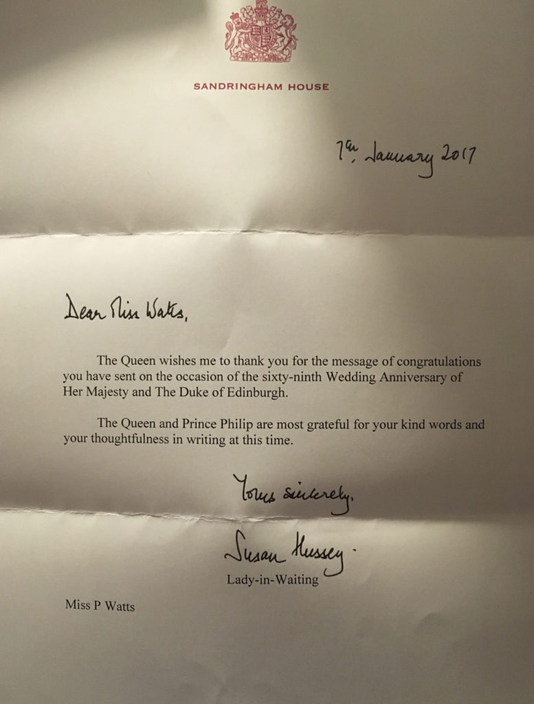 Anniversary reply from her majesty the queen and prince philip
