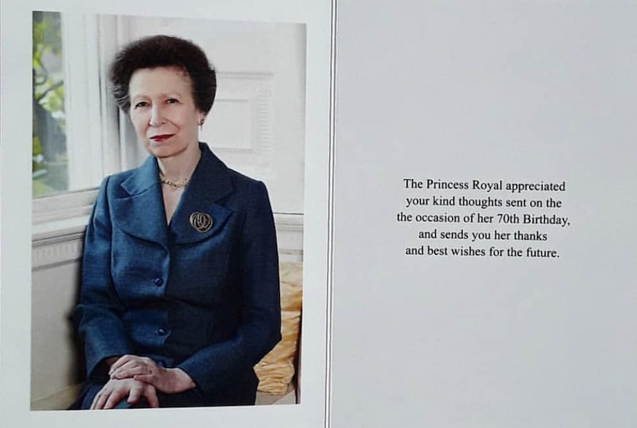 70th Birthday Reply from HRH the Princess Royal