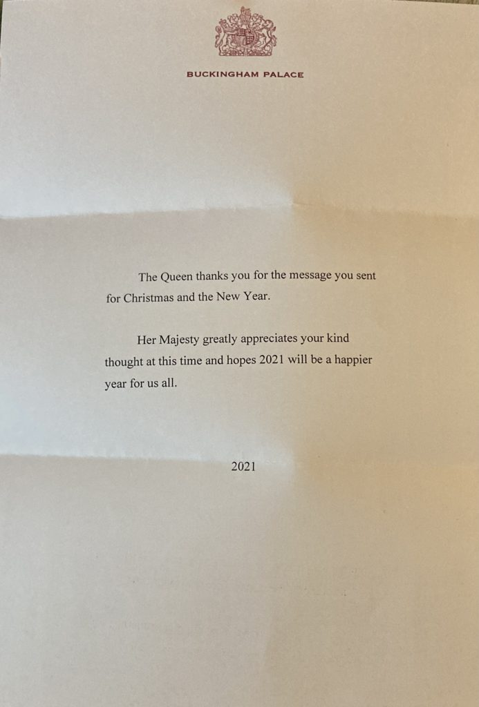 Her Majesty's Christmas 2020 Reply