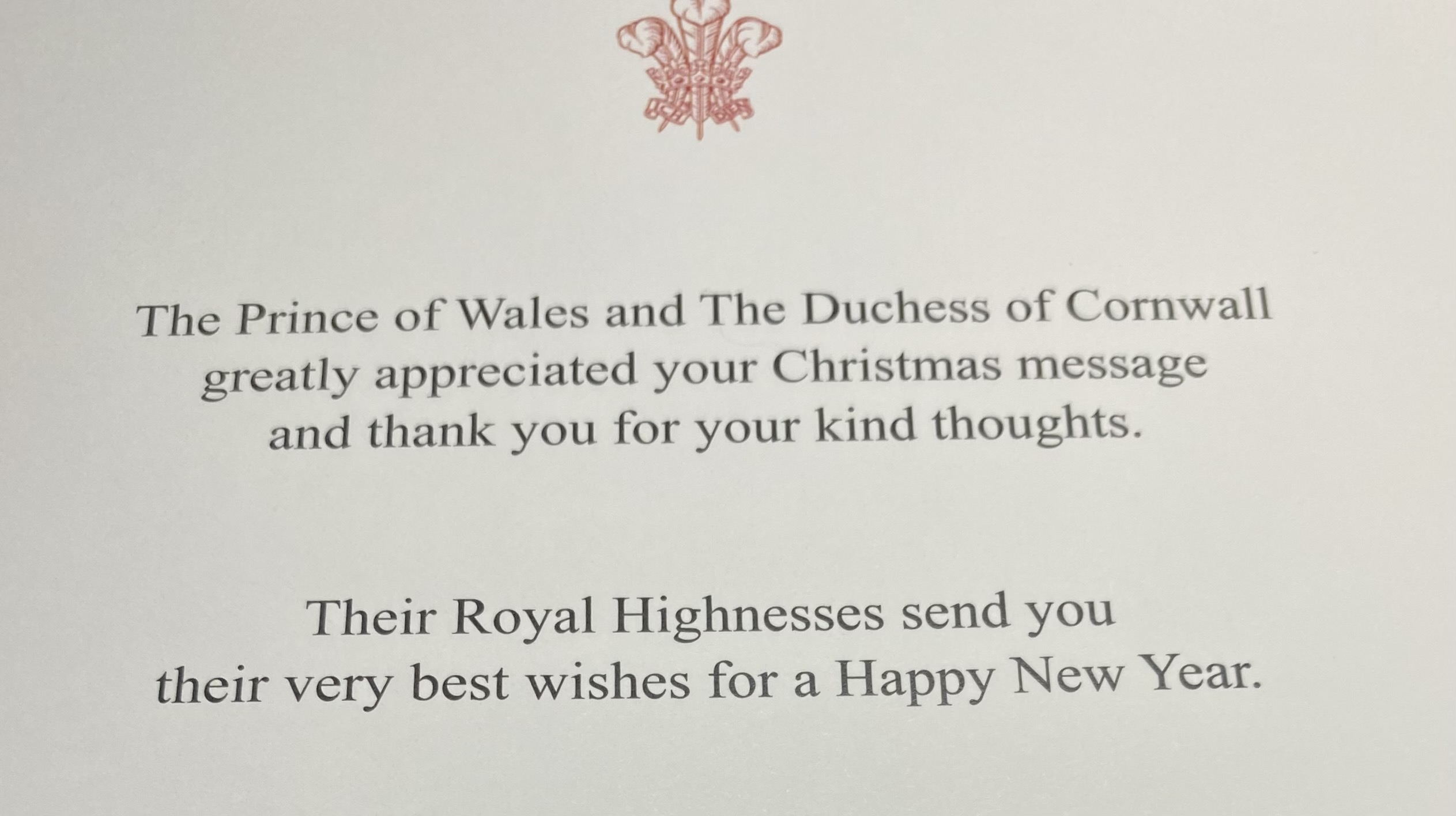 Clarence House Christmas Reply